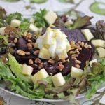 Roasted Beet, Apple, Walnut Salad with Honey Lemon Yogurt Dressing