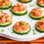 Asian Salmon Cucumber Appetizers - these are so easy to make and perfect for entertaining - only 5 ingredients