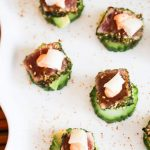 Spicy Ahi Tuna Cucumber Avocado Appetizers with Pickled Ginger - I made these for our holiday cocktail party and they were the biggest hit of the night!