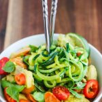 Thai Green Curry Chicken Zucchini Noodles - this easy dinner recipe takes less than 20 minutes to cook. The coconut curry sauce is so delicious! Zucchini noodles are a low carb option for rice noodles ~ http:/jeanetteshealthyliving.com