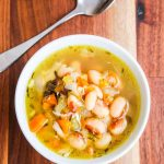 Yellow Eye Bean Chicken Smoked Ham Vegetable Soup - this hearty soup highlights unique Rancho Gordo Yellow Eye Beans.