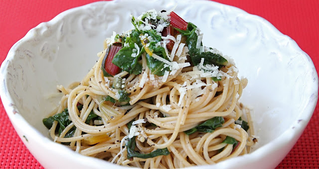 Pasta with Sauteed Swiss Chard - a quick and easy, healthy meatless meal