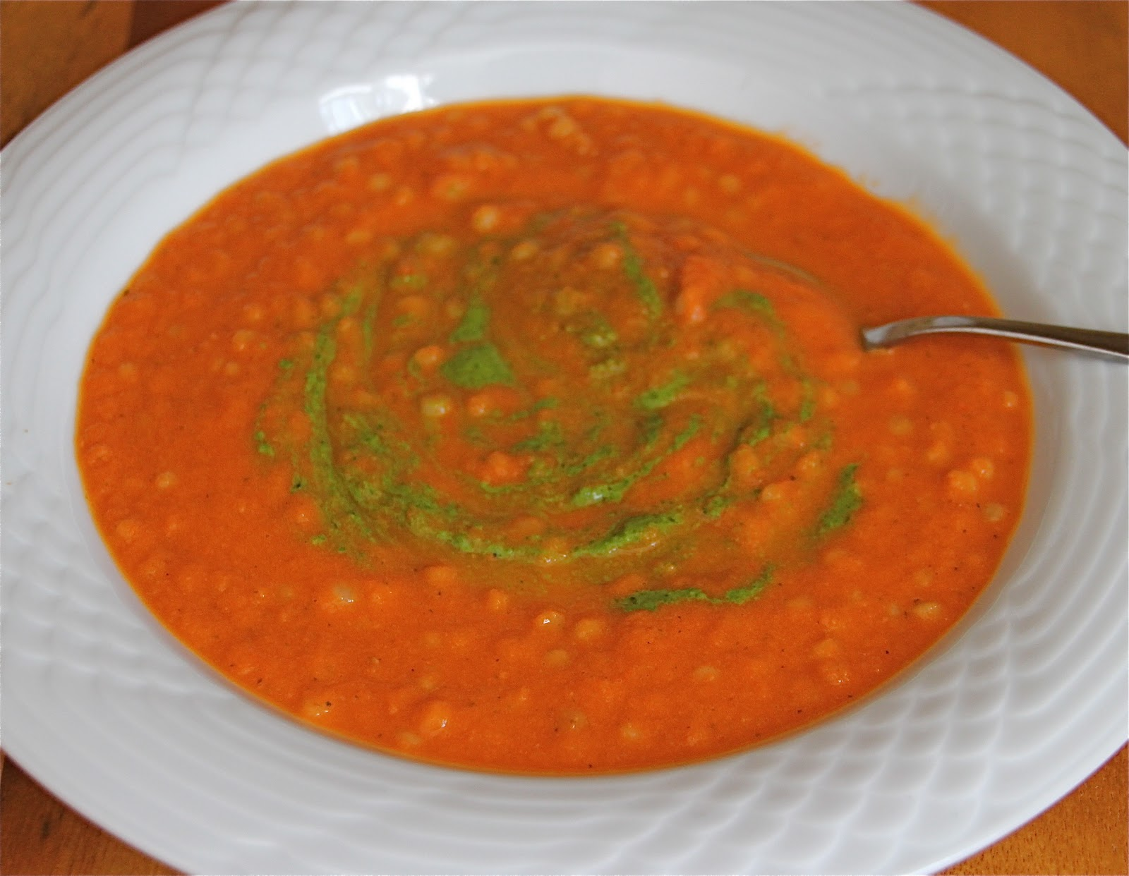 Creamless Cream of Tomato Soup with a swirl of Spinach Basil Pesto