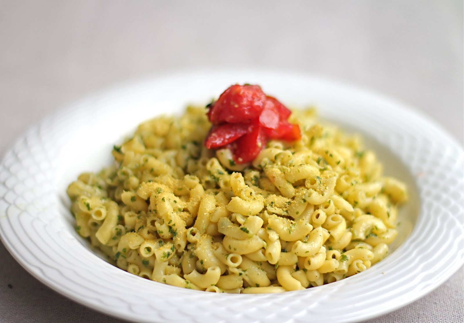 Dairy-Free Swiss Chard Garlic Scape Pesto with Gluten-Free Pasta