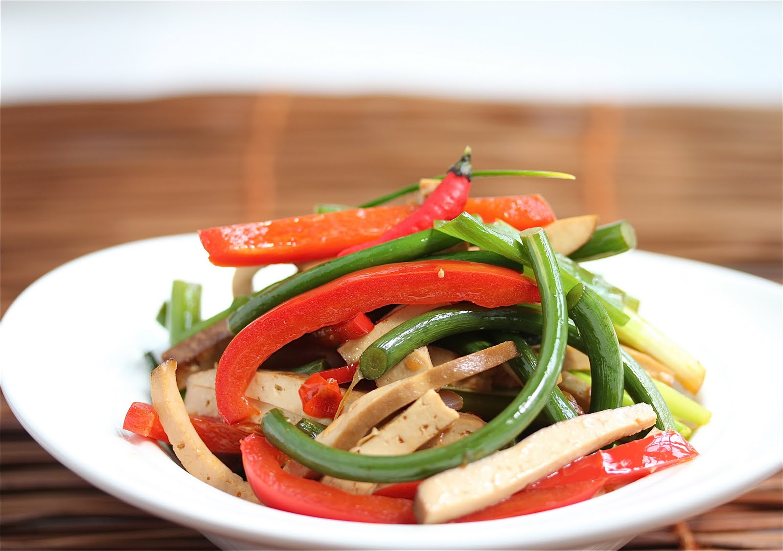 Stir-Fry Garlic Scapes with Pressed Tofu