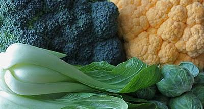 Broccoli, Cauliflower, and Bok Choy
